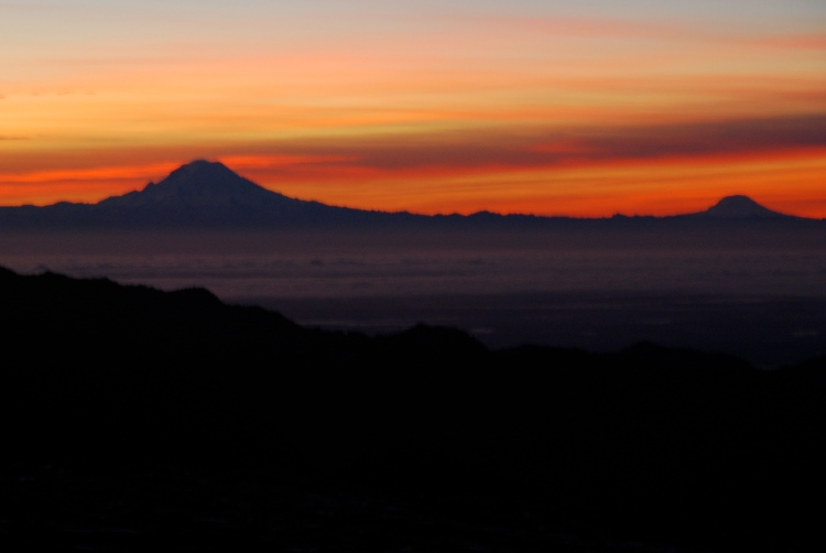Mount Rainier and Mount Adams, from camp at sunset.